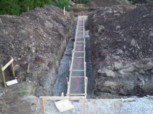 Betoon, vundament, maja äär, ehitama, valama, betoonivalu